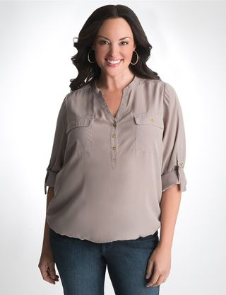 Lane Bryant bubble hem utility blouse